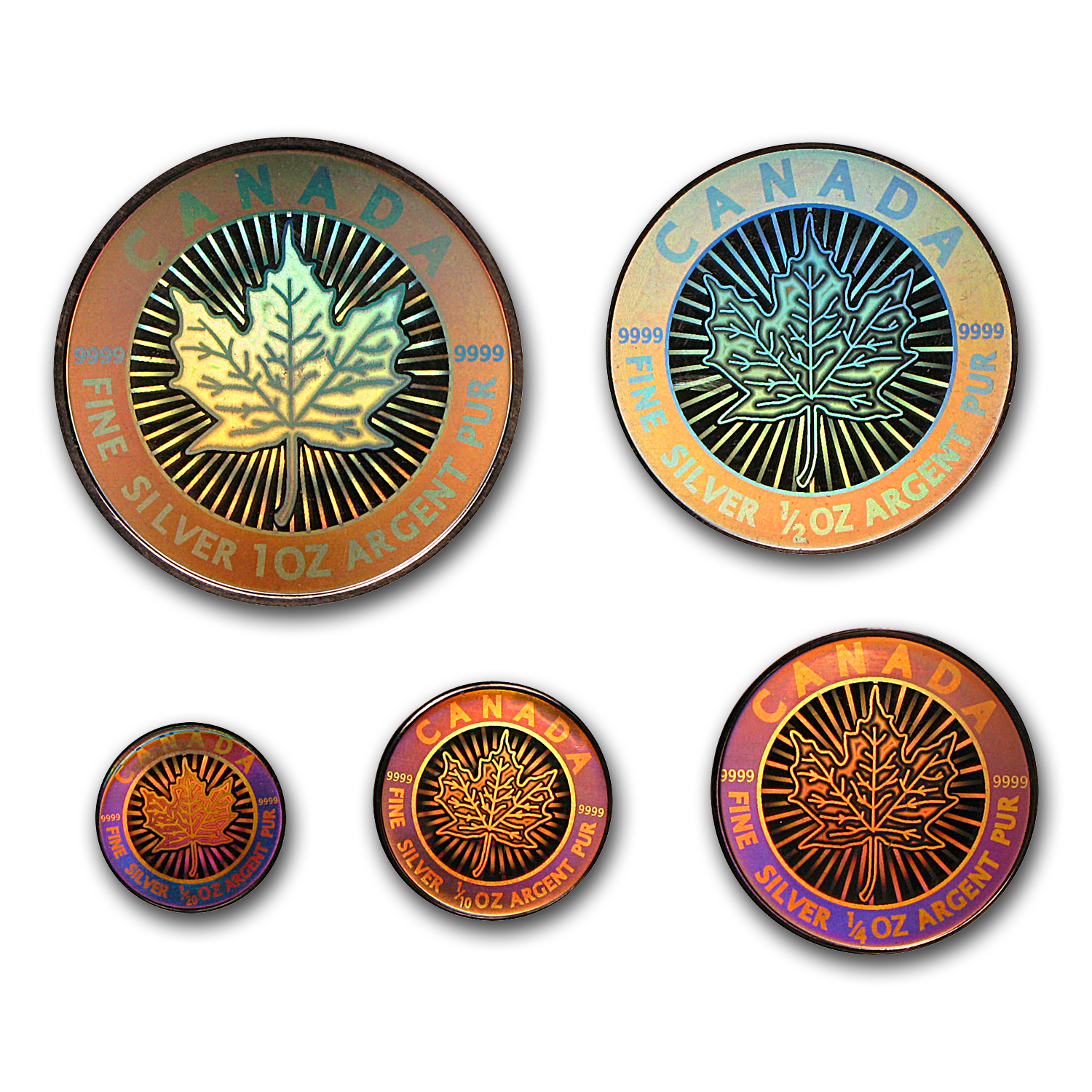 2003 5-Coin Silver Canadian Maple Leaf Set (Hologram) - No Box